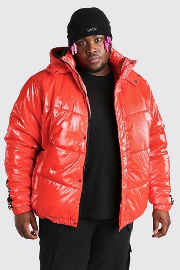 Red Plus Size MAN Dash High Shine Hooded Puffer