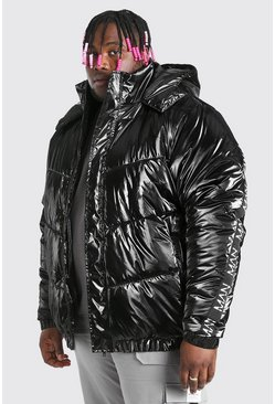 Black Big & Tall MAN Dash High Shine Hooded Puffer