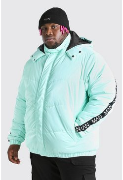 Mint grön Big & Tall MAN Dash High Shine Hooded Puffer