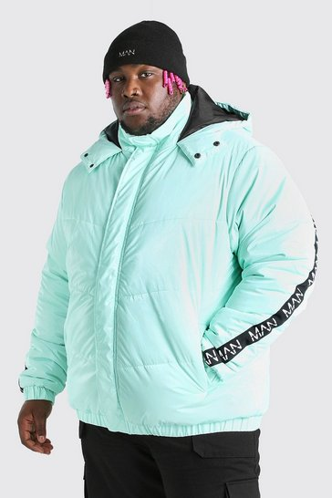 Mint green Big & Tall MAN Dash High Shine Hooded Puffer