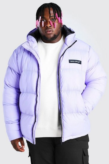Lilac purple Big & Tall MAN Branded Hand Filled Puffer