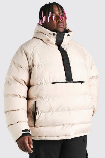 Stone beige Plus Size Over The Head Padded Puffer