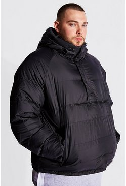 Black Plus Size Over The Head Padded Puffer