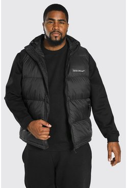 Chaleco acolchado con marca MAN Big And Tall, Negro