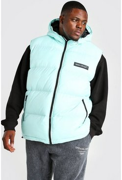 Mint green Big & Tall MAN Branded Padded Gilet