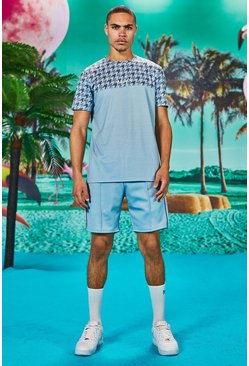 Blue Man Dogtooth Printed Panel T-Shirt & Short Set