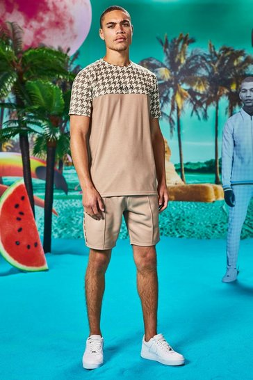 Taupe Man Dogtooth Printed Panel T-Shirt & Short Set