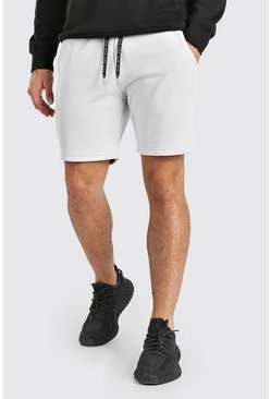 Stone Mid Length Jersey Short With MAN Drawcords