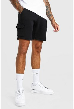 Black Basic Mid Length Cargo Short