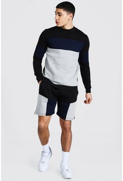 Black Colour Block Short Sweater Tracksuit