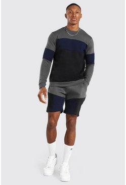 Charcoal grey Colour Block Short Sweater Tracksuit