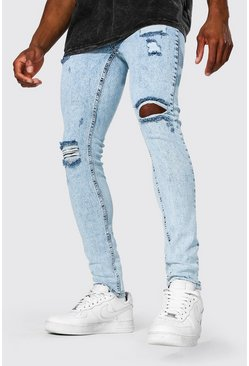 Ice blue Super Skinny Multi Rip Jean