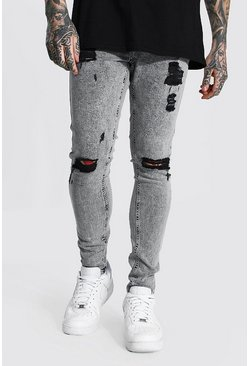 Ice grey Super Skinny Multi Rip Jean
