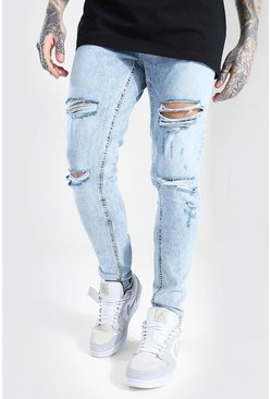 Ice blue Skinny Stretch Multi Rip Jean