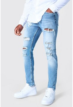 Mid blue blue Skinny Stretch Multi Rip Busted Knee Jean