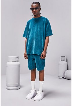 Teal MAN Towelling Oversized T-Shirt/Short Set