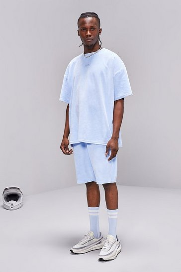 Powder blue MAN Towelling Oversized T-Shirt/Short Set