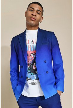 Skinny Blue Ombre Double Breasted Suit Jacket