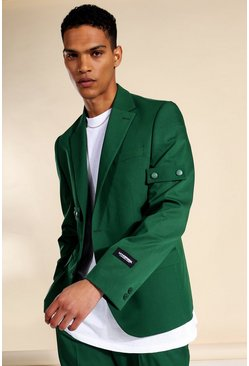 Relaxed Buttoned Single Breasted Suit Jacket, Dark green verde
