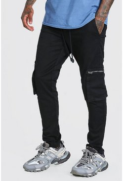Black Elastic Waist Slim Fit Cargo Trouser With Zips