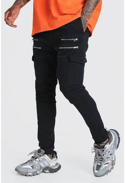 Black Skinny Fit Cargo Trouser With Front Zips