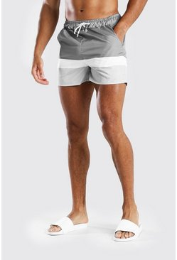Grey MAN Signature Colour Block Mid Length Swim Short