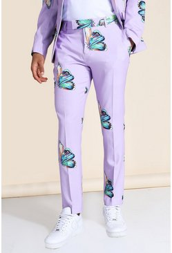 Skinny Butterfly Print Suit Trouser, Purple violett