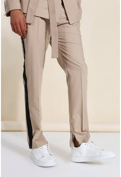 Brown Wide Leg Taped Suit Trousers
