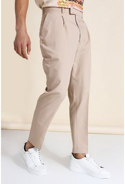 Brown Tapered Suit Trousers With Pocket Square