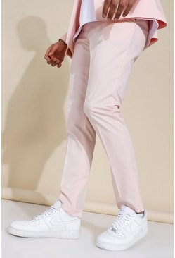 Pink Skinny Pleat Front Trousers