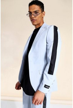 Grey Skinny Single Breasted Tape Suit Jacket