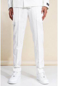 White Slim Pleated Suit Trousers
