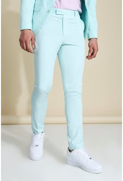 Skinny Badged Suit Trousers, Mint grün