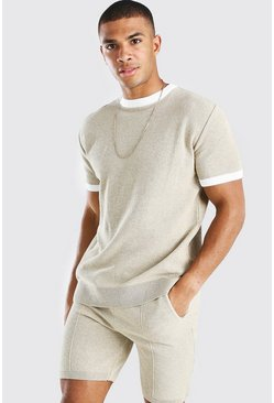 Stone beige Knitted T-Shirt And Short Set With Contrast Trim