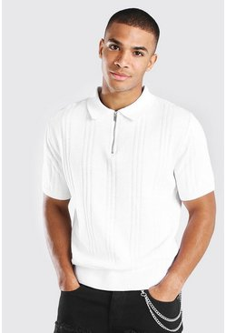 White Ribbed Knitted Half Zip Short Sleeve Polo