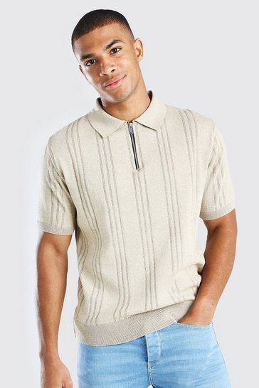 Stone Ribbed Knitted Half Zip Short Sleeve Polo