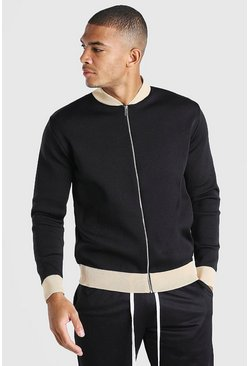 Black Smart Knitted Bomber With Contrast Trim
