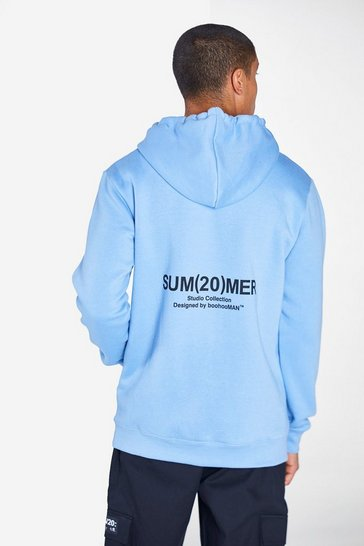 Powder blue Regular Fit Hoodie With SS20 Back Print