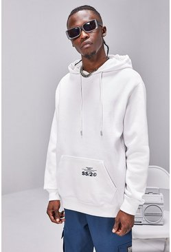 White Regular Fit Hoodie With SS20 Back Print