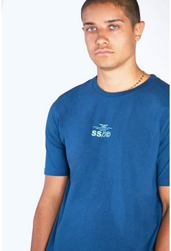 Teal Regular Fit Crew Neck T-Shirt With SS20 Back Print