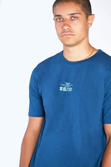 Teal green Regular Fit Crew Neck T-Shirt With SS20 Back Print