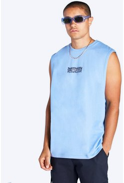 Powder blue blue Loose Fit Tank With Man Print