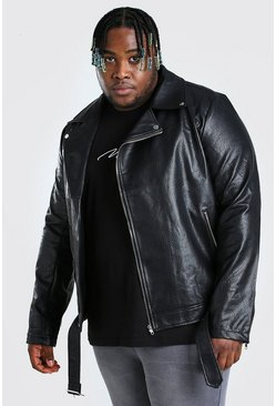 Black Plus Size PU Biker Jacket
