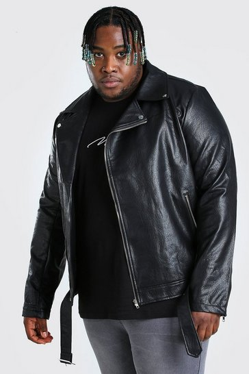 Black Big And Tall PU Biker Jacket
