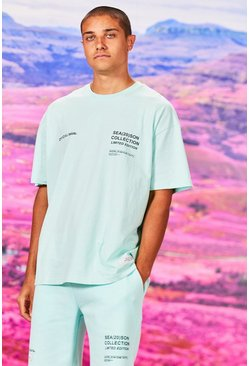 Mint Oversized Official Man Print T-Shirt