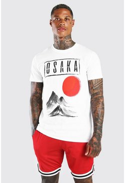 Camiseta con estampado Osaka Japan, Blanco