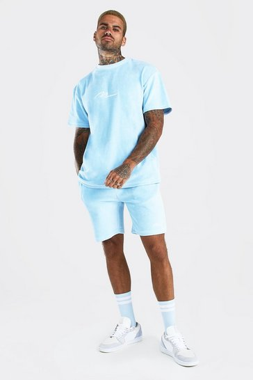 Powder blue blue MAN Velour T-Shirt & Short Set with Piping