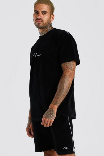 Black MAN Velour T-Shirt & Short Set with Piping