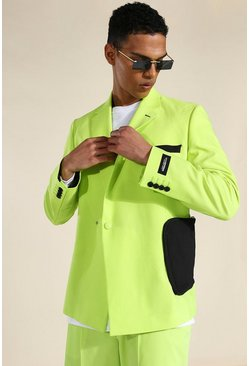 Green Relaxed Utility Double Breasted Suit Jacket