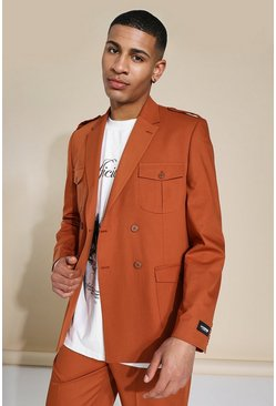 Relaxed Double Breasted Suit Jacket, Brown marrón